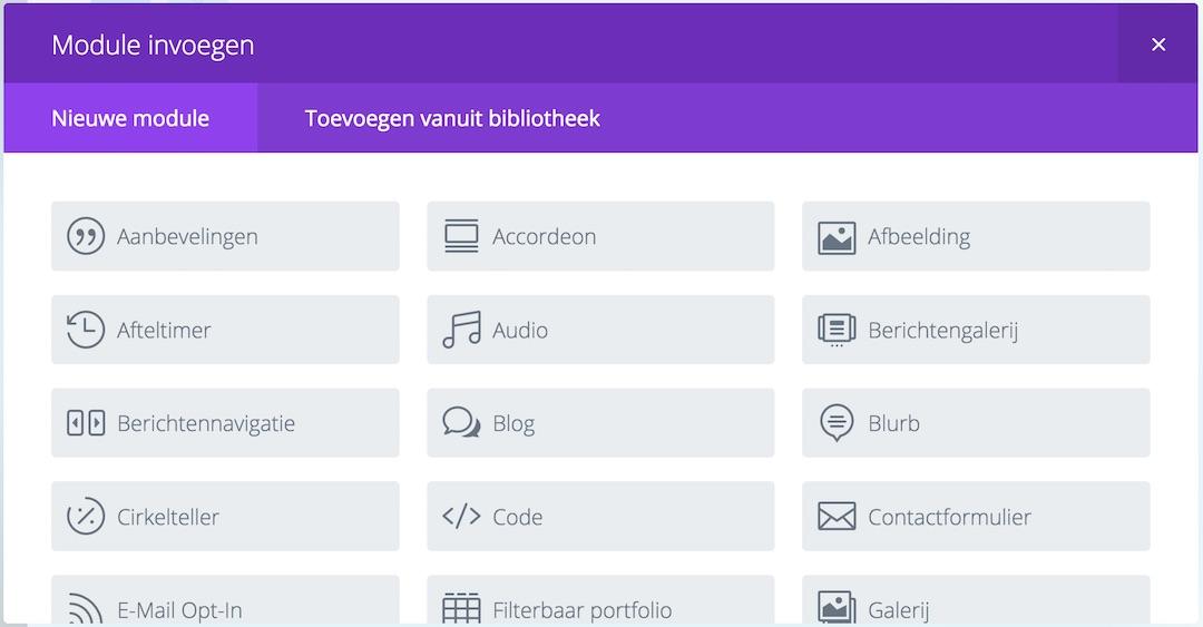 Een schermafbeelding van een deel van de Divi theme modules waaruit je kunt kiezen.